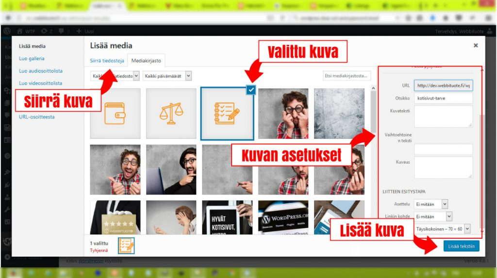 Kuvan lisäys WordPressillä