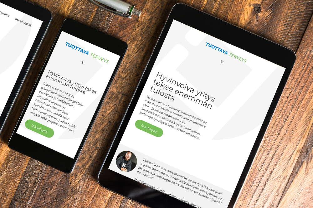 Mobiiliystävällinen WordPress-toteutus valmiista layoutista
