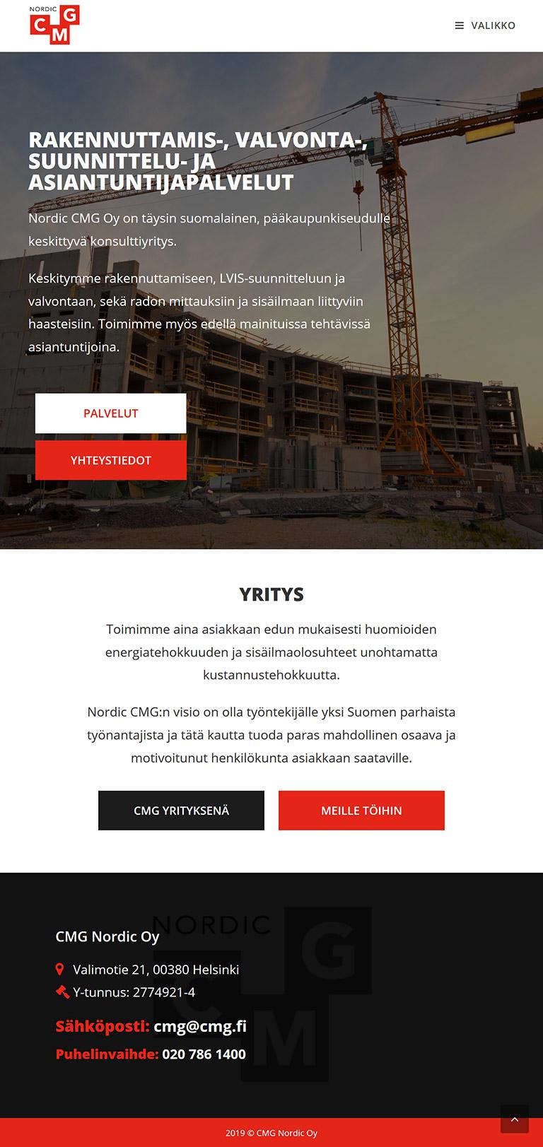 Työnäyte WordPress verkkosivut tabletilla
